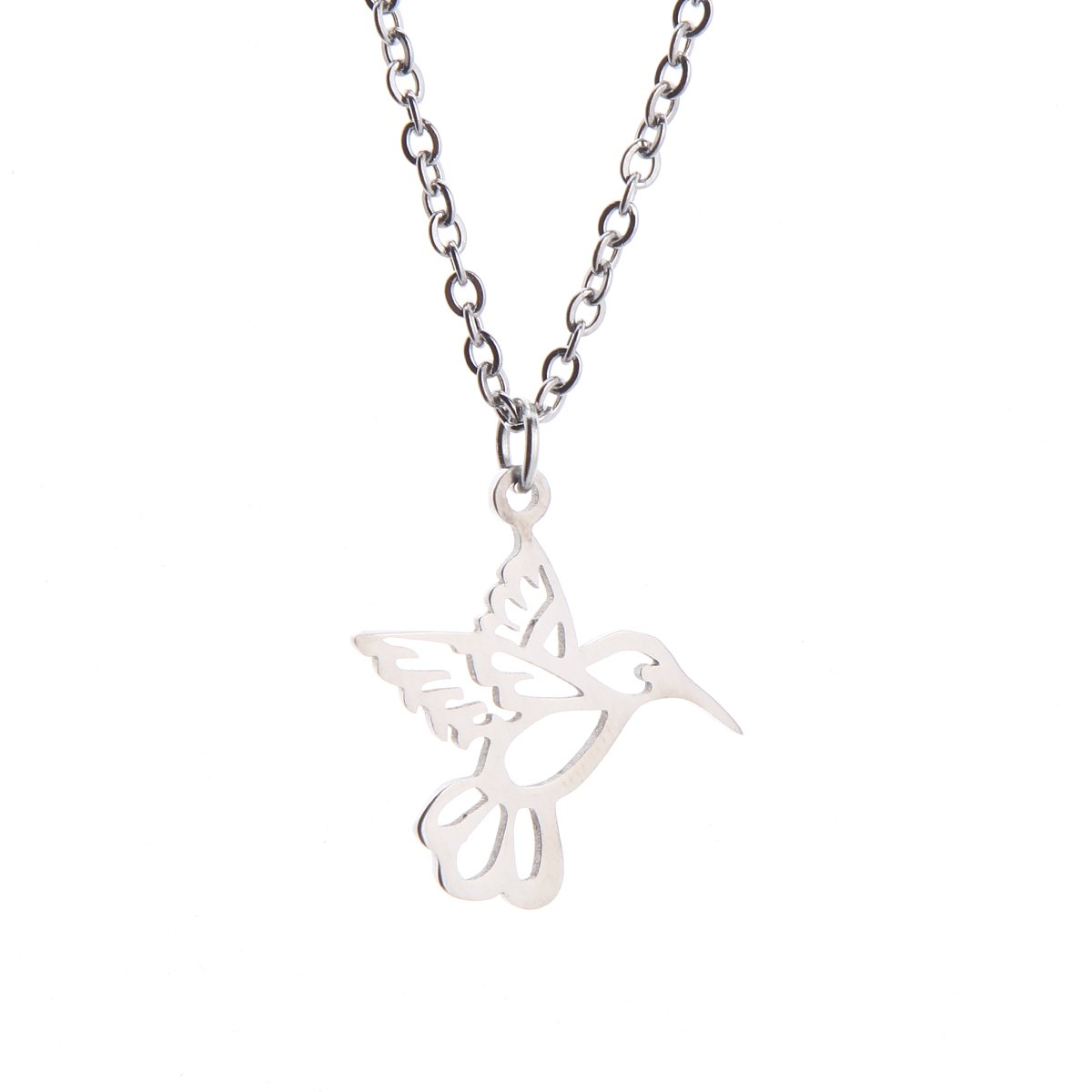 Tiny Minimalist Silver Yoga Geometric Hummingbird Necklace Amazon