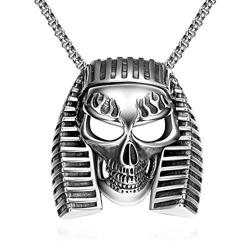 SDLM Mens Classic Vintage Titanium Steel Egyptian Pharaoh Skull,Black Silver Pendant Necklaces