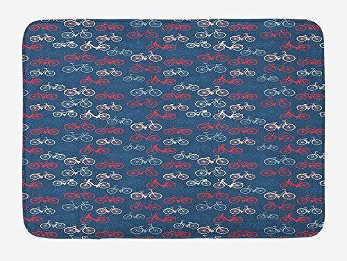 Weeosazg Bicycle Bath Mat, City Race and Girls Bike Sketches in Retro on Blue Background, Plush Bathroom Decor Mat with Non Slip Backing, 23.6 W X 15.7 W Inches, Multicolor -