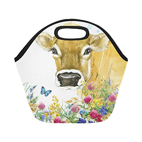 InterestPrint Cow in Field Flower with Butterfly Reusable Insulated Neoprene Lunch Tote Bag Cooler 11.93