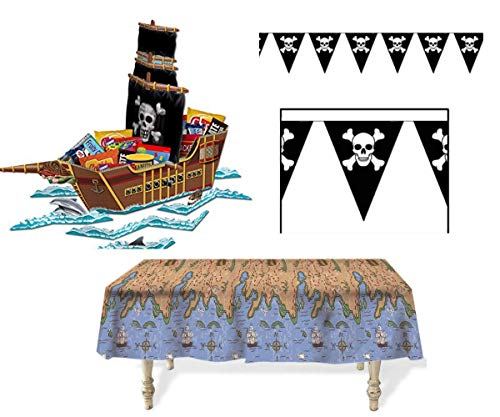 (Pirate Party Kit Mega Pirate Ship Centerpiece, Treasure Map Tablecover & Skull and Crossbones Jolly Roger Pirate Pennant)