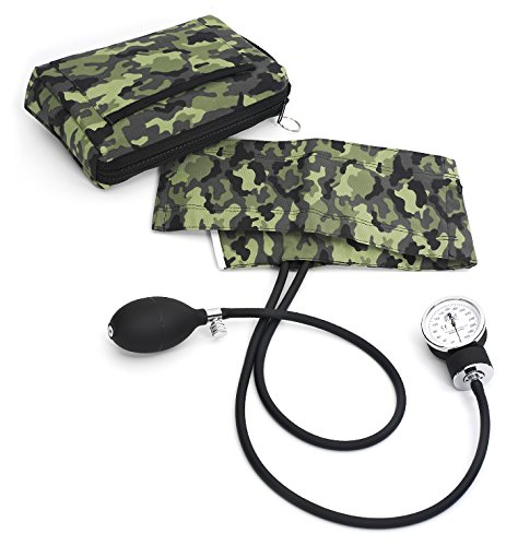 Prestige Medical 882-CMG Premium Aneroid Sphygmomanometer with Carry Case, Camouflage Green