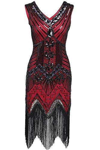 BABEYOND Women's Flapper Dresses 1920s V Neck Beaded Fringed Great Gatsby Dress (Medium, Red)