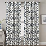 Cheap H.VERSAILTEX Thermal Insulated Blackout Curtains Grommet Top Extra Long Natural Effect Highly Durable Panels-52 inch Width by 108 inch Length- Set of 2 Panels- Grey and Navy Geo Pattern
