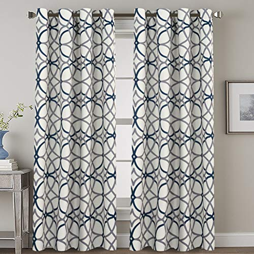 H.VERSAILTEX Thermal Insulated Blackout Curtains Grommet Top Extra Long Natural Effect Highly Durable Panels-52 inch Width by 108 inch Length- Set of 2 Panels- Grey and Navy Geo Pattern