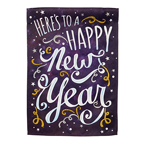 Evergreen Happy New Year Outdoor Safe Double-Sided Suede Garden Flag, 12.5 x 18 inches -