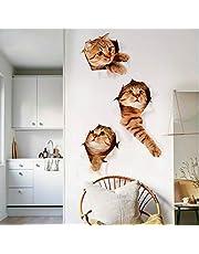 ملصقات جدارية ثلاثية الأبعاد للديكور المنزلي DIY لتزيين المنزل (قط) لتزيين غرفة المنزل قابل للإزالة لتزيين غرف الأطفال