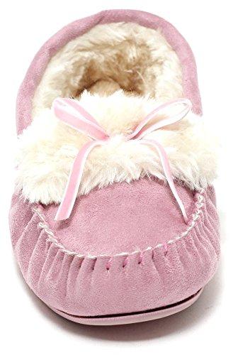 Damen Hausschuhe Mokassin Slipper mit Kunstfell ROSE Gr. 37 - 41