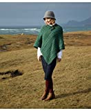 Carraig Donn Cable Poncho With Aran Button Detail, Forest Green Colour