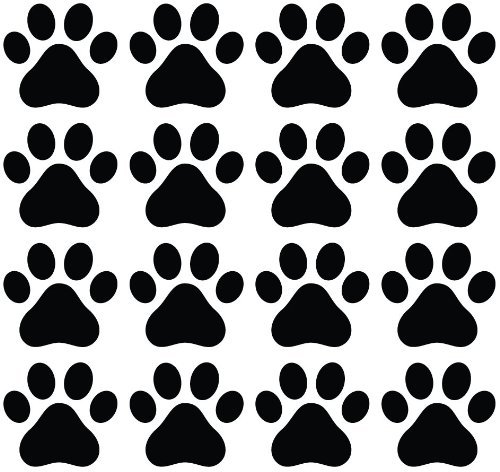 CMI356 Dog Paw Prints - Vinyl Decal Sticker for Walls, Electronics (BLACK, 16)