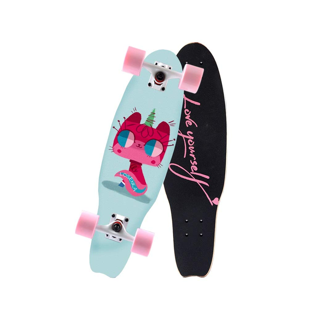 HXGL-Skateboards Small Fish Plate Brush Street Professional Skateboard Board Travel Youth Children Adult Boys and Girls Big Fish Board - Unicorn (Size : L)