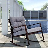Kinbor Wicker Rocking Chair Outdoor Patio Porch Garden Chairs Rattan Lounge w/Cushion (Gray)
