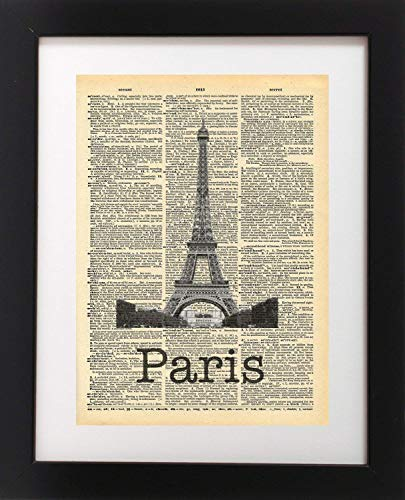 Eiffel Tower Paris France Vintage Dictionary Print 8x10 inch Home Vintage Art Abstract Prints Wall Art for Home Decor Wall Decorations For Living Room Bedroom Office Ready-to-Frame