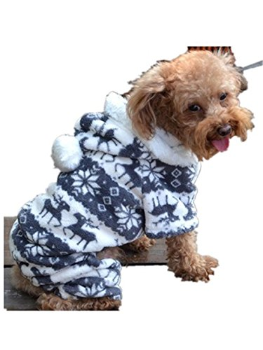 Pet Dog Clothes,Hemlock Christmas Puppy Outwear Doggy Warm Clothes (M, Grey) (Merry Puppies Christmas)
