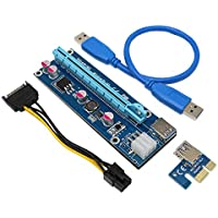 SNANSHI PCI-E Express 1X to 16X Extension Cable - Mining Dedicated Graphics Card Extension Cable Adapter with SATA Cable for Mining Bitcoin Litecoin