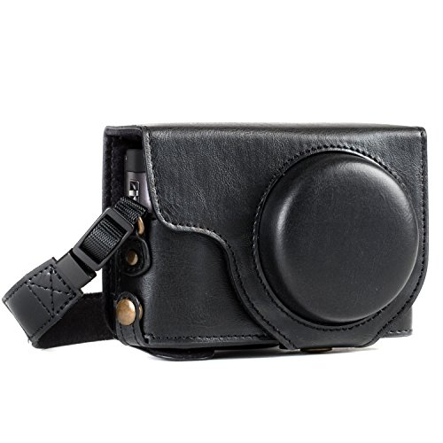 MegaGear Panasonic Lumix DC-ZS70, DC-TZ90 Ever Ready Leather Camera Case and Strap, with Battery Access - Black - MG1258