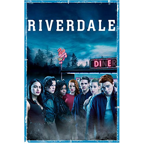 K.J. Apa 8 inch x 10 inch PHOTOGRAPH Riverdale (TV Series 2017 - ) w/Cast Outside Diner Title Poster #1 kn