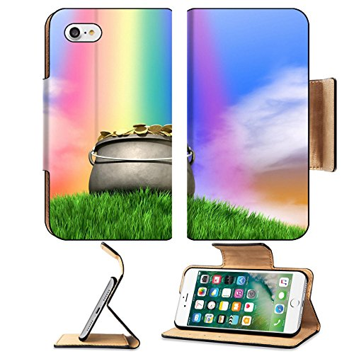MSD Premium Apple iPhone 7 Flip Pu Leather Wallet Case A leprechaun pot filled with gold coins highlighted by rainbow on regular green hill blue sky background Image ID 24501769 (Case Gold Filled)