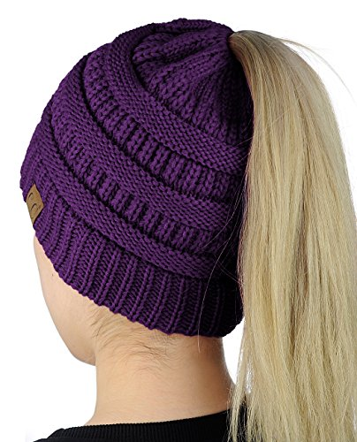 C.C BeanieTail Soft Stretch Cable Knit Messy High Bun Ponytail Beanie Hat, Purple from C.C