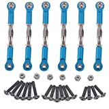 Hobbypark 6pcs 166617 Aluminum Turnbuckle w/ machined Rod ends Blue For 1/10 Redcat Volcano EPX / Pro Upgrade Parts Monster Truck HSP BRONTOSAURUS 94111 Replacement