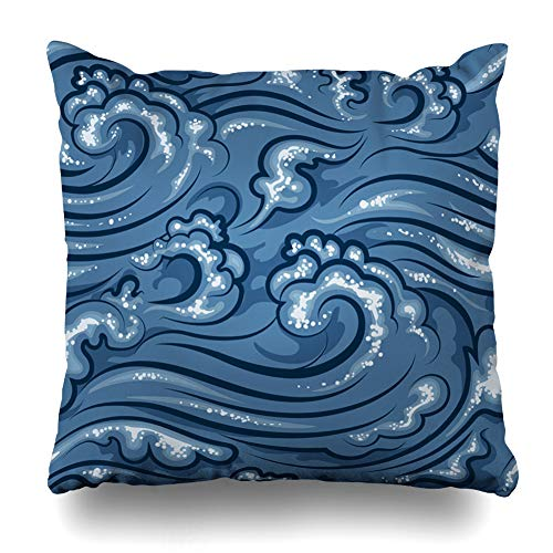 - Ahawoso Throw Pillow Cover Rippled Blue Asia Oriental Ocean Sea Abstract Water Nature Curl Curve Drawing East Eastern Design Decorative Pillowcase Square Size 16