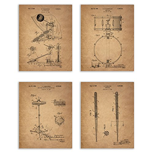 Drum Patent Prints - Set of 4 (8 inches x 10 inches) Photos Vintage Wall Art Decor ()