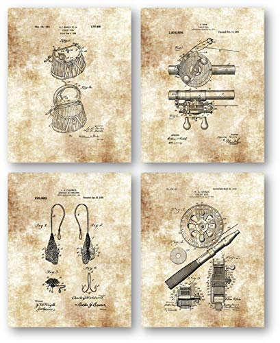 Original Fly Fishing Reel, Basket, Creel, Hook Drawing- Set of 4 8 x 10 Unframed Patent Prints - Great Gift for Fly Fisherman, Lake House, - Creel Hook