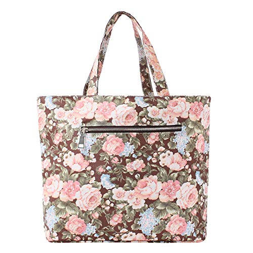 Women And Beach Outdoors For Handbag Durable Office Gym Girls Travel Lvtree Work Teen Shopping Gray Waterproof School Zipper Tote Bag Reusable Grocery Foldable Pouch Closure Storage Blue Rose With Top q7aBZq