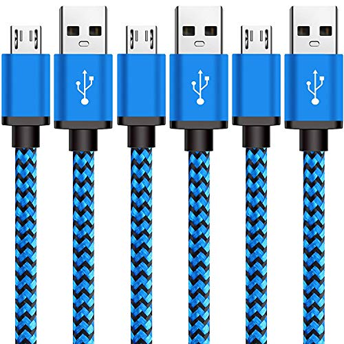 Android Charger Cable Fast Charge, 3 Pack USB to Micro USB Cable 10FT, USB Micro Cable for Long Samsung Charger Cord Galaxy S7 S6 Edge Tablet LG Phone, Charging Wire for Kindle Fire PS4 Echo Dot-Blue