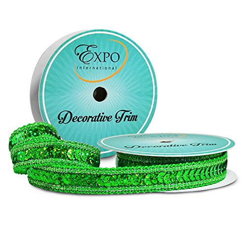 Expo International SIR6172GR Lexi Hologram Sequin with Sparkle Edge Trim Spool, 3 yd, Green