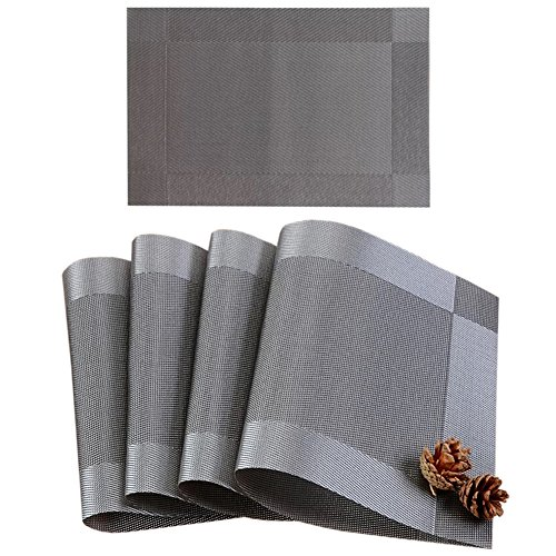 AHDESR Placemat, Heat-resistant Placemats Stain Resistant Anti-skid Washable PVC Dining Table Mats Woven Vinyl Placemats, Set of 4 (Silver-gray)