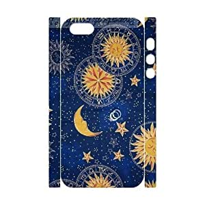 DIY Sun Moon Pattern 3D Case, DIY 3D Durable Case Cover for iphone 5,5s with Sun Moon Pattern (Pattern-1)