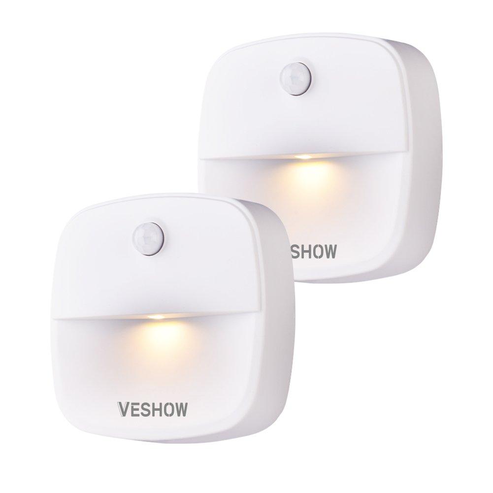 Vbestlife Stick-On Night Light, Motion Sensor Night Light, Warm White LED, Bedroom, Closet, Kitchen, Hallway, Stairs, Energy Efficient, Compact, 2-Pack