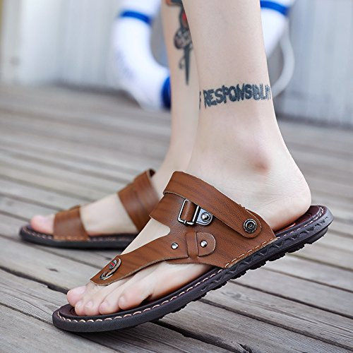 fankou The Gentlemen That The Slippers Sandals Men's Shoes Summer Beach Shoes Tide of Anti-Skid Cool Drag and Large Number 40, a Pair of Khaki