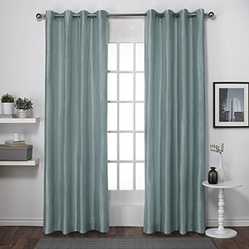 Exclusive Home Curtains Chatra Faux Silk Grommet Top Window Curtain Panel Pair, Sea Foam, 54×84