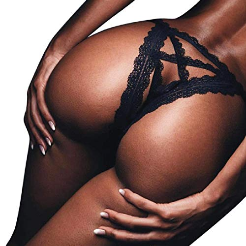 Sexy G-String, Womens Sexy Lace Flowers Solid Color Low Waist Panties G-String Thongs Underwear (Black, L)