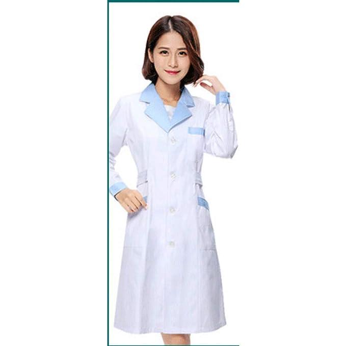 ESENHUANG Manga Larga Mujeres Blanco Abrigo Médico Enfermera ...