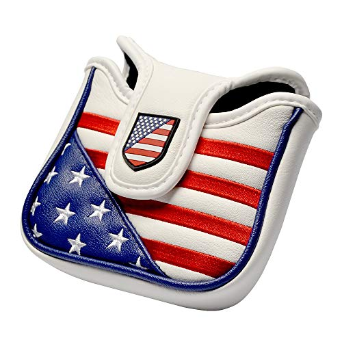 (COOLSKY Golf Square Mallet Putter Cover Magnetic Closure Design USA Stars and Stripes Flag Patriot Headcover)