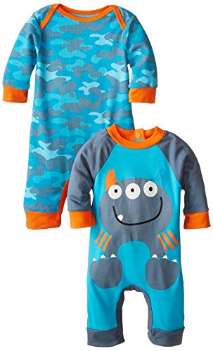 Gerber Baby Boys' Monster Playsuit,  Pack of Two, Monster, 3-6 Months