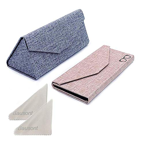 Bauson Triangle Folding Glasses Case Hard Shell Sunglasses Protective Case for Eyeglass 2 Pack (Linen-Grey+Beige), Small (Triangle Glasses Case)