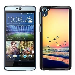 Design for Girls Plastic Cover Case FOR HTC Desire D826 Sunset Seagull Ocean Summer Orange OBBA