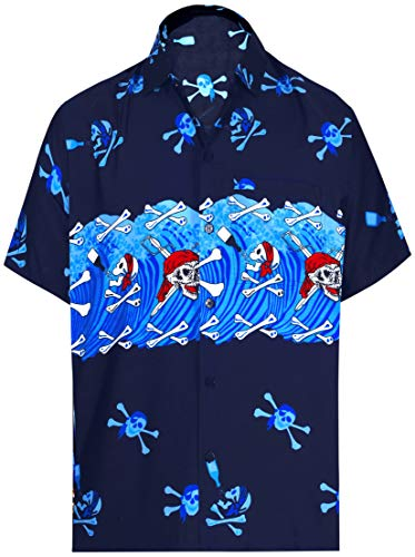 LA LEELA Men's Hawaiian Shirt Funky Casual Button