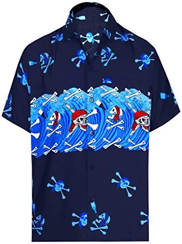 LA LEELA Likre Men's Hawaiian Shirt Bright Blue 334 X-Small | Chest 36
