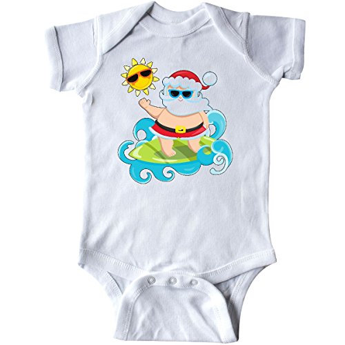 inktastic - Surfing Santa Infant Creeper 12 Months White (Santa Baby Infant Creeper)