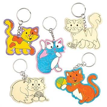 Llaveros de Madera con Gatos Que los niños Pueden Colorear, Decorar y Personalizar - Juego de Manualidades Creativas para niños (Pack de 6).