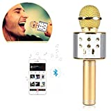 Brobeat WS-858 Wireless Portable Handheld Singing Machine Condenser Microphones Mic And Bluetooth Speaker Audio Recording (Assorted Colour)