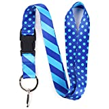 Buttonsmith Blue Dots Premium Lanyard with Buckle and Flat Ring - Made in The USA
