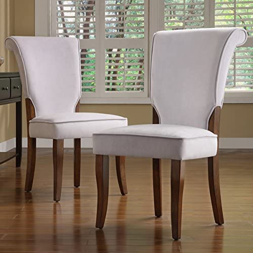 TRIBECCA HOME Andorra Grey Velvet Upholstered Dining Chair, Set of 2