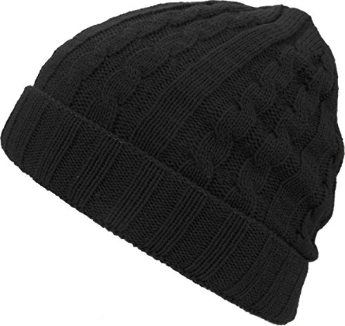 KBW-506F BLK Cable Knit Cuffed Beanie Solid Winter Ski Hat