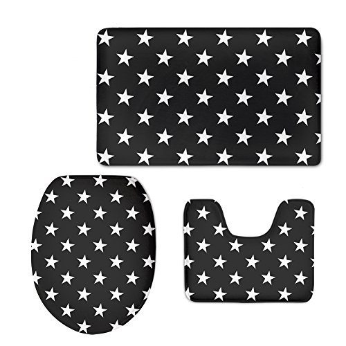 FOR U DESIGNS Five Star Soft Flannel Modern Home Bathroom Decor Included Washroom Carpet U-Shaped Contour Mat WC Seat Cover (3 Piece) (Star Lavatory)
